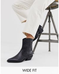 ASOS Wide Fit Autumnal Leather Western Boots In Black
