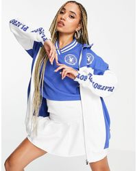 Missguided Playboy Sports Co-ord Zip Through Jacket - Blue