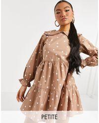 New Look Poplin Fill Collar Dress - Brown