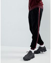 ASOS - Asos Knitted Co-ord Chenille Joggers With Stripe In Burgundy - Lyst