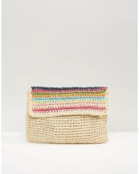 South Beach Paper Straw Clutch Bag - Multicolor
