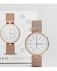 Skagen - Connected Skt1404 Signatur Mesh Hybrid Smart Watch In Rose Gold - Lyst