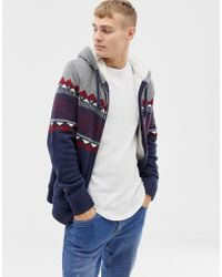Hollister Fairisle Chest Stripe Hooded Cardigan Borg Lined In Navy - Gray