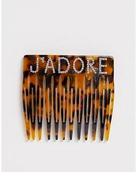 Glamorous Tortoiseshell Comb With J'adore Rhinestone Embellishment - Brown