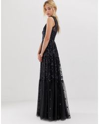 Needle & Thread - Vestido largo de encaje con bordados y cuello subido en color grafito de - Lyst