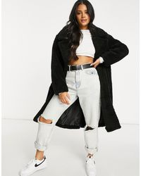 NA-KD - Double Breasted Long Teddy Coat - Lyst