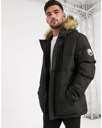 Threadbare Quilted Parka With Faux Fur Lined Hood - Black