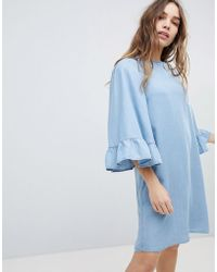 ONLY - Denim Shift Dress Wth Ruffle Sleeve - Lyst