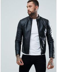 Armani Jeans - Fine Textured Leather Biker Jacket - Lyst