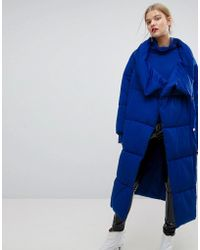 Mango - Quilted Long Coat - Lyst
