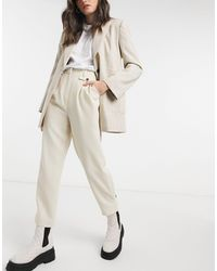 TOPSHOP Twill Trousers - Natural