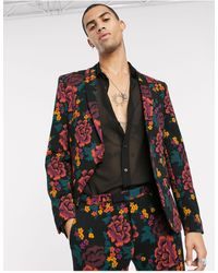 Twisted Tailor Jersey Suit Jacket With Floral Printing - Black