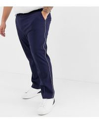 ASOS - Plus Skinny Smart Trousers In Navy With Cuff And Piping - Lyst