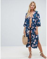 Seafolly Moonflower - Kimono à fleurs - Bleu et rose