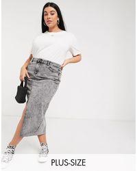 Simply Be Denim Midi Skirt - Grey