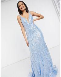 Jovani Plunge Neck Embellished Maxi Dress - White