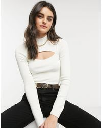 & Other Stories Cut Out Long Sleeve Knitted Top - White