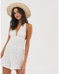 2619ec60a4 Fashion Union - Sophana Beach Playsuit In White - Lyst