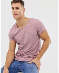 Jack & Jones Сиреневая Длинная Футболка С Овальным Вырезом Essentials-розовый - Серый