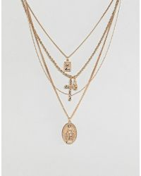 ASOS - Design Multirow Necklace With Vintage Style Icon And Cross Pendants In Gold - Lyst