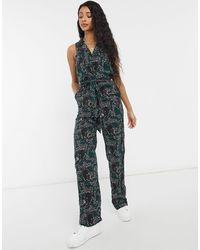 Monki Janelle - Combinaison sans manches avec ceinture à imprimé panthère - Vert foncé - Multicolore