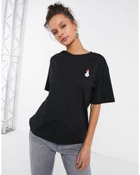 Monki Tovi Organic Cotton Christmas Snowman Print T-shirt - Black