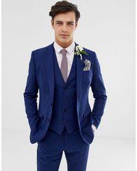 French Connection Wedding Slim Fit Plain Linen Suit Jacket - Blue
