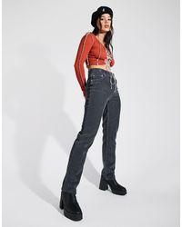 ASOS – jeans aus cord im stil der 90er mit geradem bein und mittelhohem bund - Grau