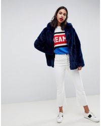 ASOS Faux Fur Coat With Collar Detail - Blue