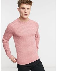 Hollister Розовый Джемпер Плотной Вязки «в Косичку» С Логотипом -розовый Цвет