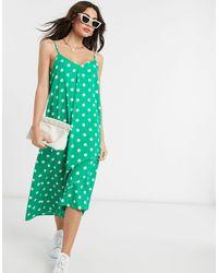 Vero Moda - Vestito midi allacciato sul retro a pois verdi e bianchi - Lyst