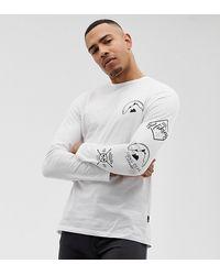 Burton Big & Tall Raglan Long Sleeve Top In With Mountain Print In White