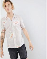 AllSaints Overhemd Met Reverskraag En Korte Mouwen Met Hawaiiaanse Bloemenprint - Grijs