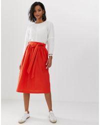 955dc4861 ASOS Asos Tailored Linen Paperbag Waist Split Side Midi Pencil Skirt ...