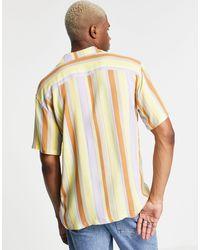 Pull&Bear Рубашка С Отложным Воротником В Желтую И Бежевую Вертикальную Полоску -желтый