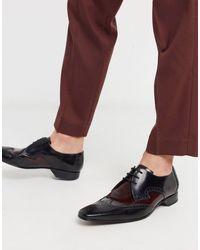 Jeffery West Бордово-черные Кожаные Туфли -черный - Многоцветный