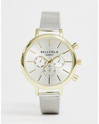 Bellfield Ladies Silver Mesh Chronograph Watch With Gold Case Watch - Metallic