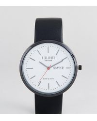 Reclaimed (vintage) - Inspired Date Leather Watch In Black Exclusive To Asos - Lyst