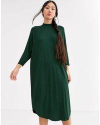 Monki - Темно-зеленое Платье-футболка Миди -зеленый - Lyst
