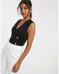 UNIQUE21 Gold Button Premium Ponte Bodysuit - Black