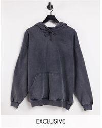 Reclaimed (vintage) Sudadera extragrande con capucha y diseño teñido en color antracita - Gris