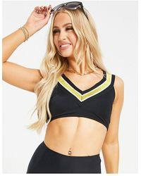 Juicy Couture Miami Time - Reggiseno bikini nero a costine con finiture oro
