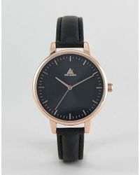 ASOS - Skinny Strap Watch In Black And Rose Gold - Lyst