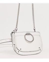 ALDO Elroka White Belt Fanny Pack With Silver Hardware