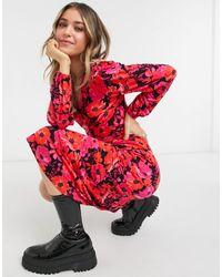 Miss Selfridge Long Sleeve Midi Dress - Black