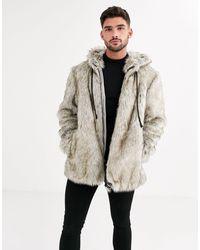 Urbancode Hooded Faux Fur Jacket With Hood-multi - Multicolour