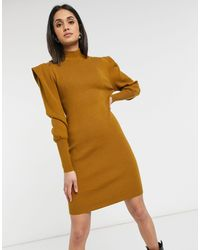 Vila High Neck Knitted Dress With Shoulder Pads - Brown
