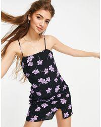 Pull&Bear Черное Платье-комбинация Мини С Цветочным Принтом И Разрезом -черный Цвет