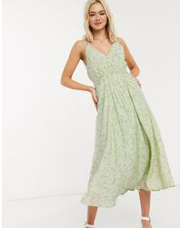 Moon River Patterned Ruched Front Midi Dress - Green