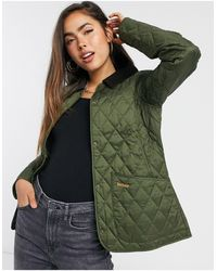 Barbour Annandale Diamond Quilt Jacket With Cord Collar - Green